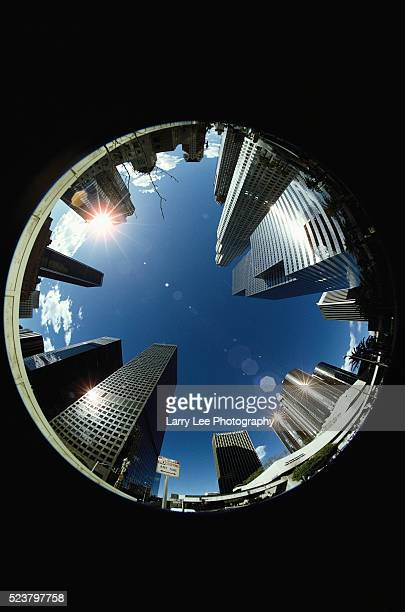 manhole view of los angeles - fish eye lens stock pictures, royalty-free photos & images