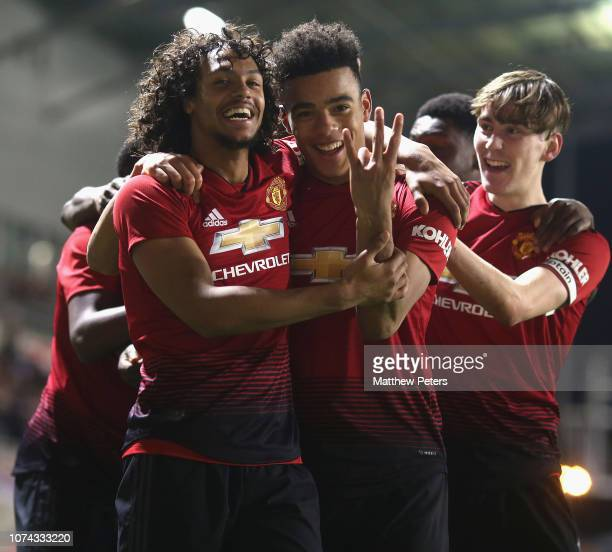Mani BughailMellor and Mason Greenwood of Manchester United U18s celebrate Di'shon Bernard scoring their third goal during the FA Youth Cup Third...
