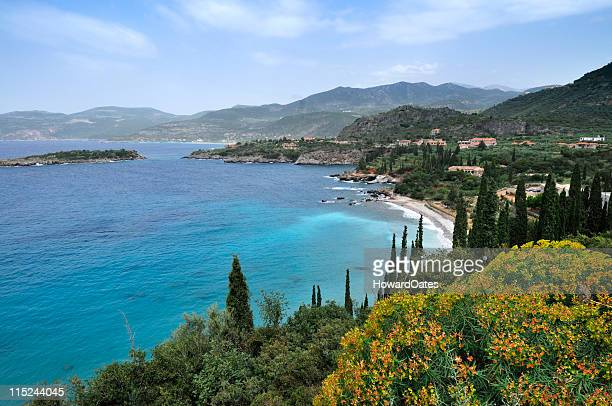 mani coastline in greece - peloponnese stock photos and pictures