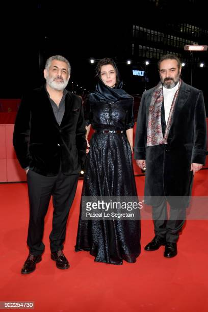 Mani Haghighi Leila Hatami and Hasan Majuni attend the 'Pig' premiere during the 68th Berlinale International Film Festival Berlin at Berlinale...