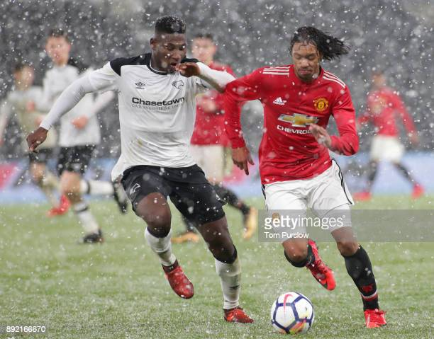 Mani Mellor of Manchester United U18s in action during the FA Youth Cup third round match between Derby County U18s and Manchester United U18s at...