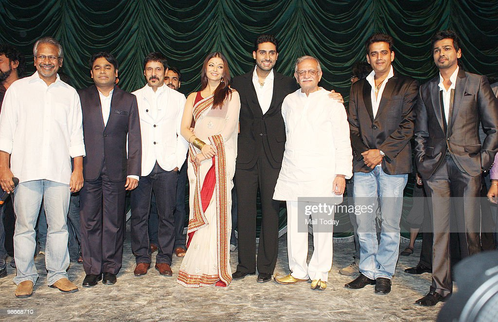 Mani Ratnam AR Rahman Vikram Aishwarya Rai Bachchan Abhishek Bachchan Gulzar Ravi Kissen and Nikhil Dwivedi at the music launch of the film Raavan in.