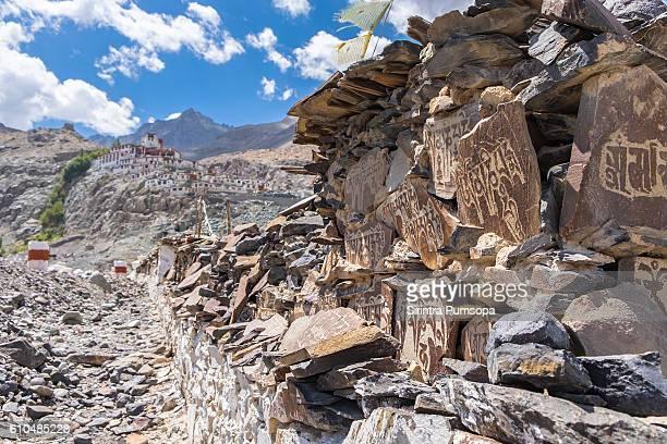Mani Stones near Diskit Monastery in Leh Ladakh, Jammu and Kashmir, Indian