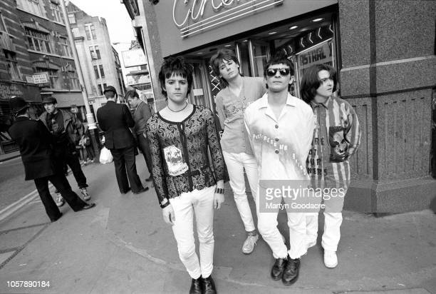 Manic Street Preachers groupportrait in Soho, London, January 1991. L-R Richey Edwards, Nicky Wire, James Dean Bradfield, Sean Moore.