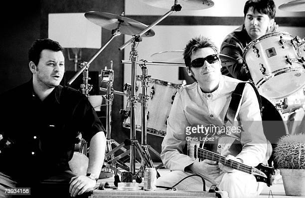 Manic Street Preachers taking a break on set of the video 'So Why So Sad' London
