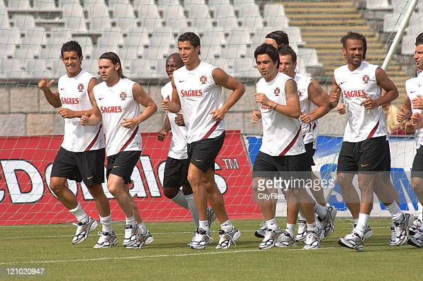 Maniche Cristiano Ronaldo Deco and Costinha of the Portugal National Team training at National Stadium in Lisbon The 23 players are now available and...