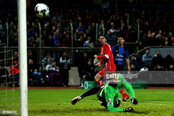 Maniche of Koeln shoots the ball on the post during the DFB Cup round of 16 match between Eintracht Trier and 1 FC Koeln at the Mosel stadium on...