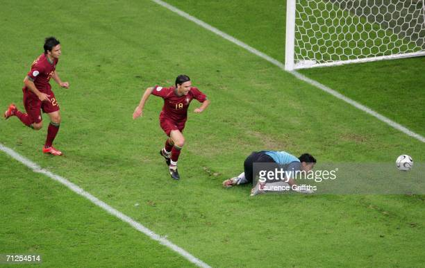 Maniche of Portugal celebrates after scoring the first goal of the game during the FIFA World Cup Germany 2006 Group D match between Portugal and...