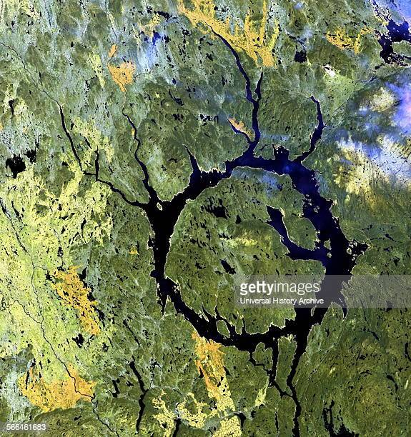Manicouagan Impact Structure in Quebec Canada The crater dated at 214 million years It has been proposed that the impact was created by an asteroid...