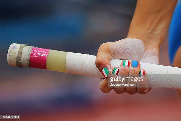 Manicure detail of Sonia Malavisi of Italy during the Pole Vault Women's qualifying round during day one of the European Athletics U23 Championships...