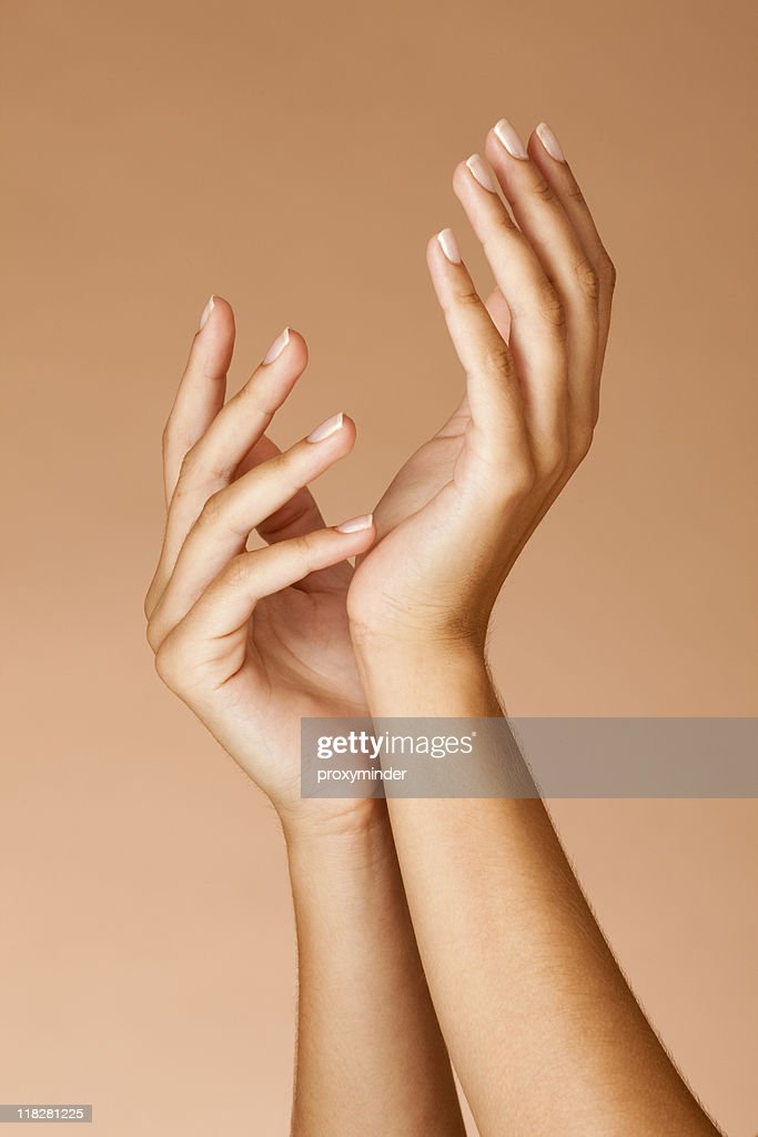 Manicured nails Woman hands : Stock Photo