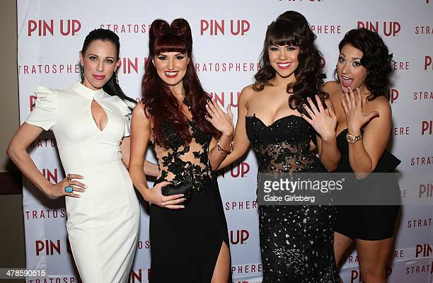 Manicurist Shawna Traynor singer Lisa Marie model Claire Sinclair and manicurist Ashley Valley show off their nails as they arrive at the anniversary...