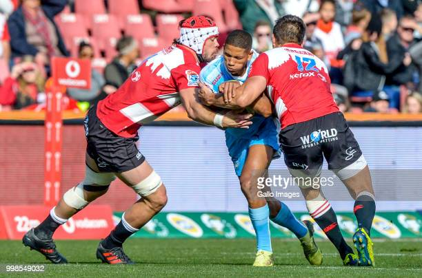 Manie Libbok of the Bulls with ball possession against the Lions during the Super Rugby match between Emirates Lions and Vodacom Bulls at Emirates...