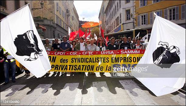 Manifestation against the privatization of SNCM In Bastia Corsica France On October 01 2005 More than 9000 people demonstrated outside the courthouse...