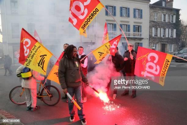 Manifestation contre le projet de loi travail El Khomri le 24 mars 2016 à Périgueux, Dordogne, Périgord,France .