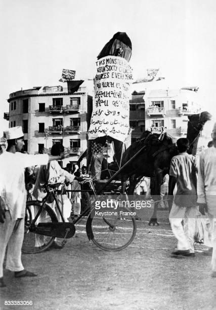 Manifestation contre l'empire britannique et pour l'indépendance à Jaipur Inde en 1936