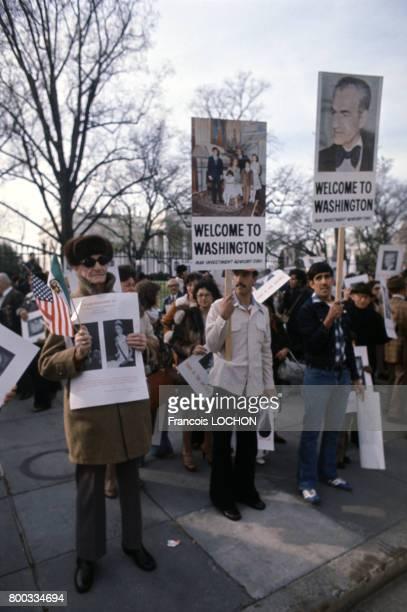 Manifestation de soutien au Shah d'Iran Mohammad Reza Pahlavi lors de sa visite en novembre 1977 à Washington aux ÉtatsUnis