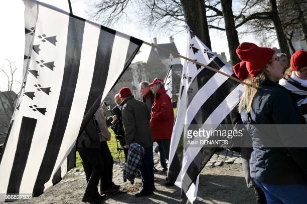 Manifestation des Bonnets rouges pour célébrer l'anniversaire de la Duchesse Anne De Bretagne et réclamer le rattachement du département de...