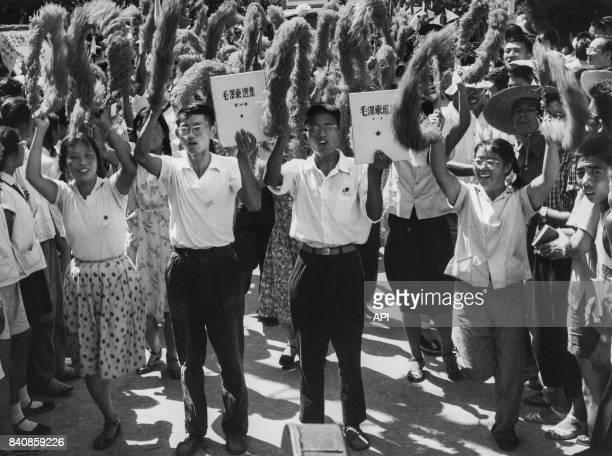 Manifestation des Gardes rouges à Pékin le 19 août 1966 Chine