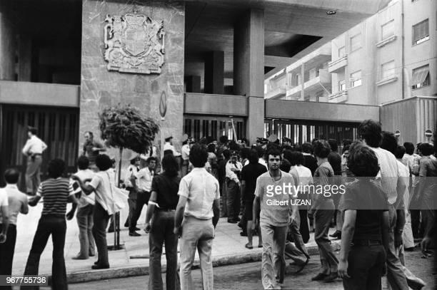 Manifestation devant l'ambassade d'Angleterre après le chute du régime des colonels le 20 juillet 1974Grèce