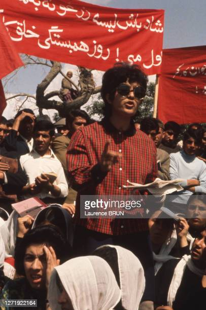 Manifestation d'étudiants militants à Kaboul, en 1972, Afghanistan.