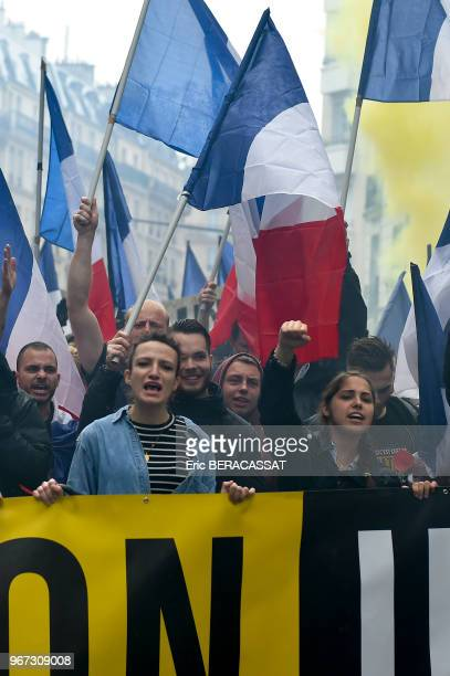 Manifestation du collectif 'ON EST CHEZ NOUS', mouvement de Génération Identitaire et du Bloc Identitaire, marche depuis la place Monge jusqu'à la...