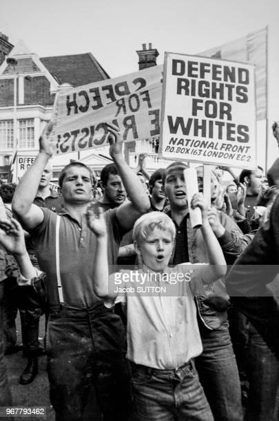 Manifestation du 'National Front' lors du carnaval des Rastas à Londres le 30 aout 1981 RoyaumeUni