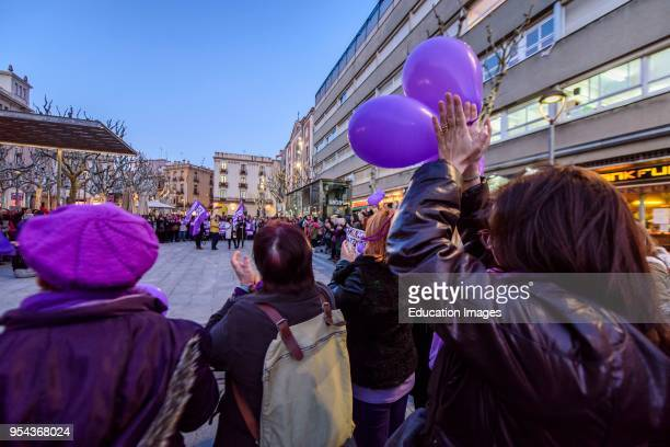 Manifestation in Mataro in 'dia de la mujer' women's day in Spanish Strike of 8th March 2018