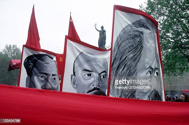 Manifestation In Paris France May 1998 Banners of MarxistLeninist Turkish