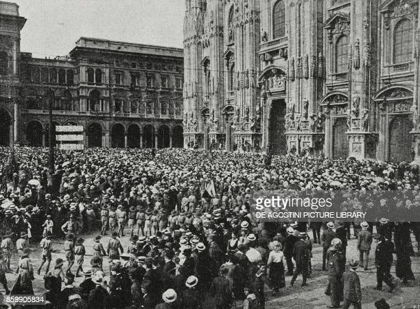Manifestation in Piazza Duomo for the second anniversary of the war May 24 Milan Italy World War I from L'Illustrazione Italiana Year XLIV No 22 June...
