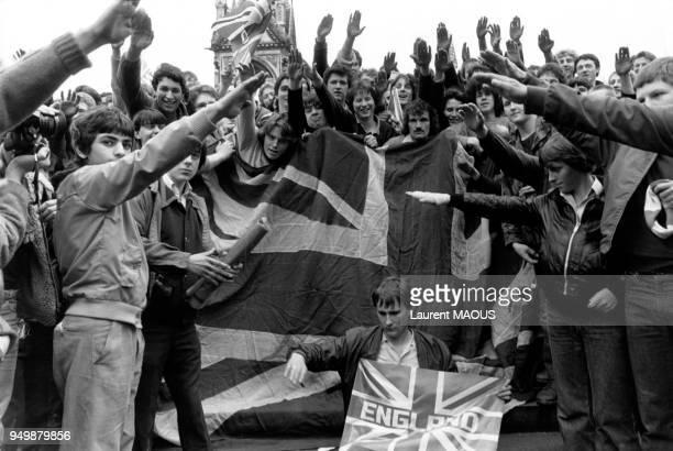 Manifestation lors de la prises d'otages à l'Ambassade d'Iran à Londres au RoyaumeUni le 4 mai 1980