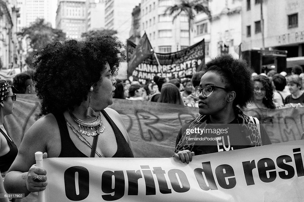 Manifestação do Gay mulheres : Foto de stock
