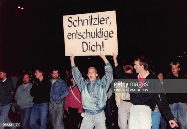 Manifestation pour la paix le 18 octobre 1989 à Leipzig, République démocratique allemande.