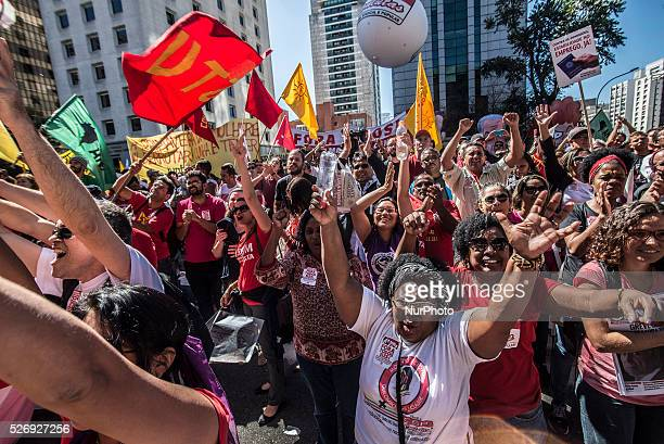 Manifestations of socialist movements celebrate Labor Day in Sao Paulo Avenue in Sao Paulo on Sunday 1 in Brazil They ask for the departure of...