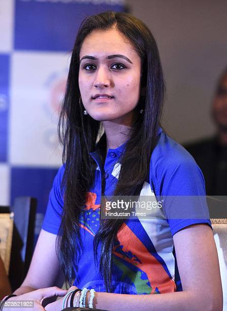 Manika Batra Table Tennis during a press conference to announce Salman Khan as Indian contingents Goodwill Ambassador for Rio Olympics 2016 at IOA...