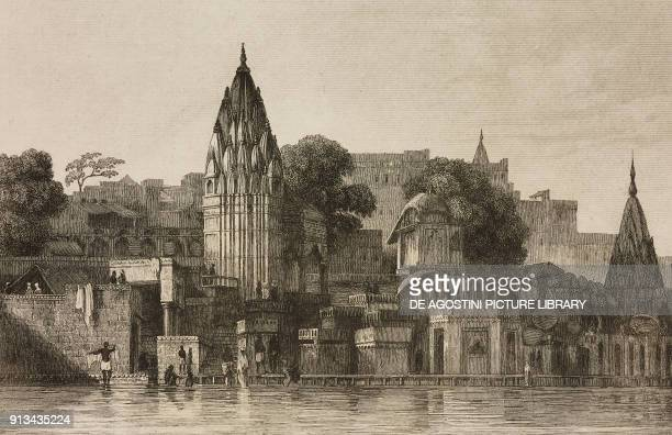 Manikarnika Ghat, Banaras, India, engraving by Lemaitre from Inde, by Dubois De Jancigny and Xavier Raymond, L'Univers pittoresque, published by...