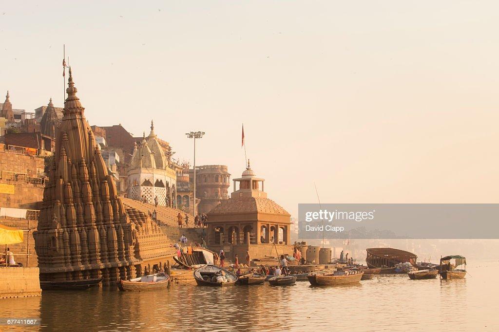 Manikarnika Ghat, in Varanasi, India : Stock Photo