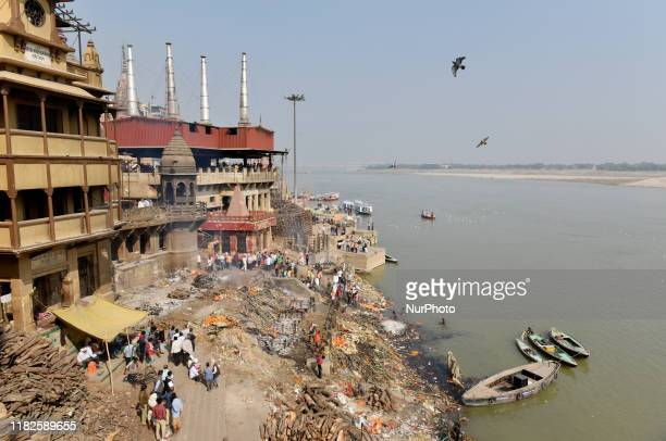 Manikarnika ghat on the Ganges river in Varanasi India 14 November 2019 It is the holiest cremation ground on the banks the river Ganga