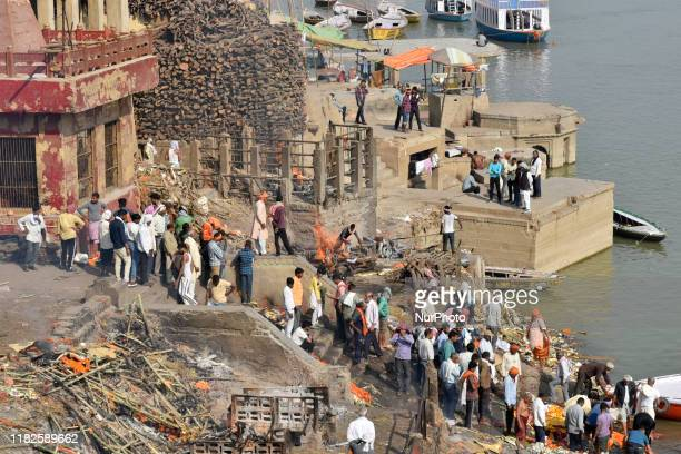 Manikarnika ghat on the Ganges river in Varanasi, India, 14 November, 2019. It is the holiest cremation ground on the banks the river Ganga.