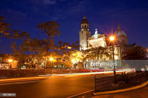 Manila Cathedral in the Philippines at night