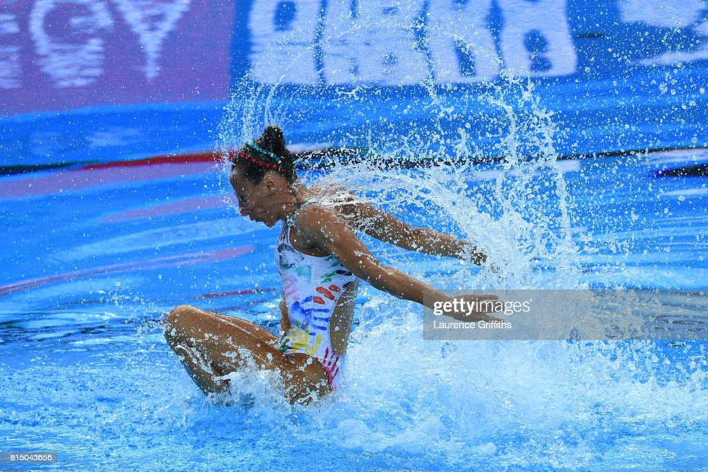 Manila Flamini of Italy and Giorgio Minisini of Italy competes during the Mixed Duet Synchro Technical, Preliminary Round on day two of the Budapest 2017 FINA World Championships on July 15, 2017 in Budapest, Hungary.