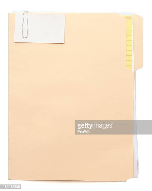 Manila folder with a note paper clipped to the front
