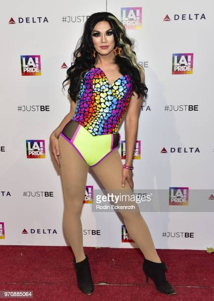 Manila Luzon arrives at LA Pride Music Festival and Parade 2018 on June 9 2018 in West Hollywood California