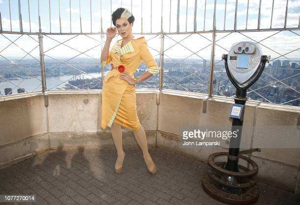Manila Luzon from the cast of RuPaul's Drag Race All Stars visits the Empire State Building Hosts Cast Of RuPaul's Drag Race All Stars at The Empire...