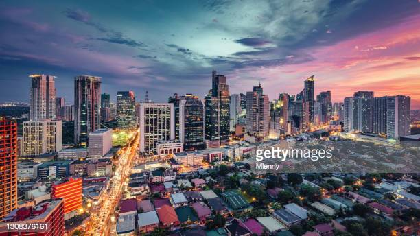manila makati cityscape at sunset panorama philippines - romantic sunset stock pictures, royalty-free photos & images