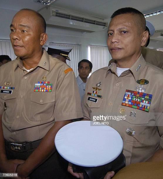 Former Philippine Marine commandant Major General Renato Miranda and Marine Colonel Ariel Querubin attend proceedings at the justice department in...