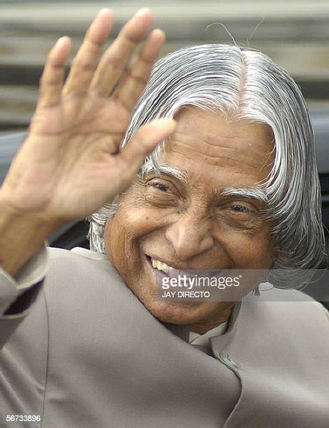 Indian President Abdul Kalam waves shortly after arriving at the international airport in Manila 03 February 2006 for a threeday visit Kalam is...