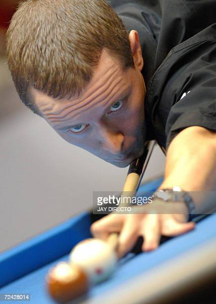 Mika Immonen of Finland cues during the fourth day round match against Antonio Lining of the Philippines at the World Pool Championship being held in...