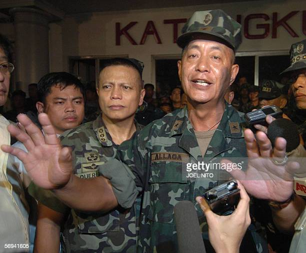 Newly installed Philippine Marines Commandant Brigadier General Nelson Allaga gestures as he addresses media representatives inside a Marine Camp in...