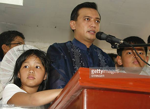 Opposition candidate and newlyelected senator Lt Senior Grade Antonio Trillanes addresses his supporters after taking his oath of office in his...
